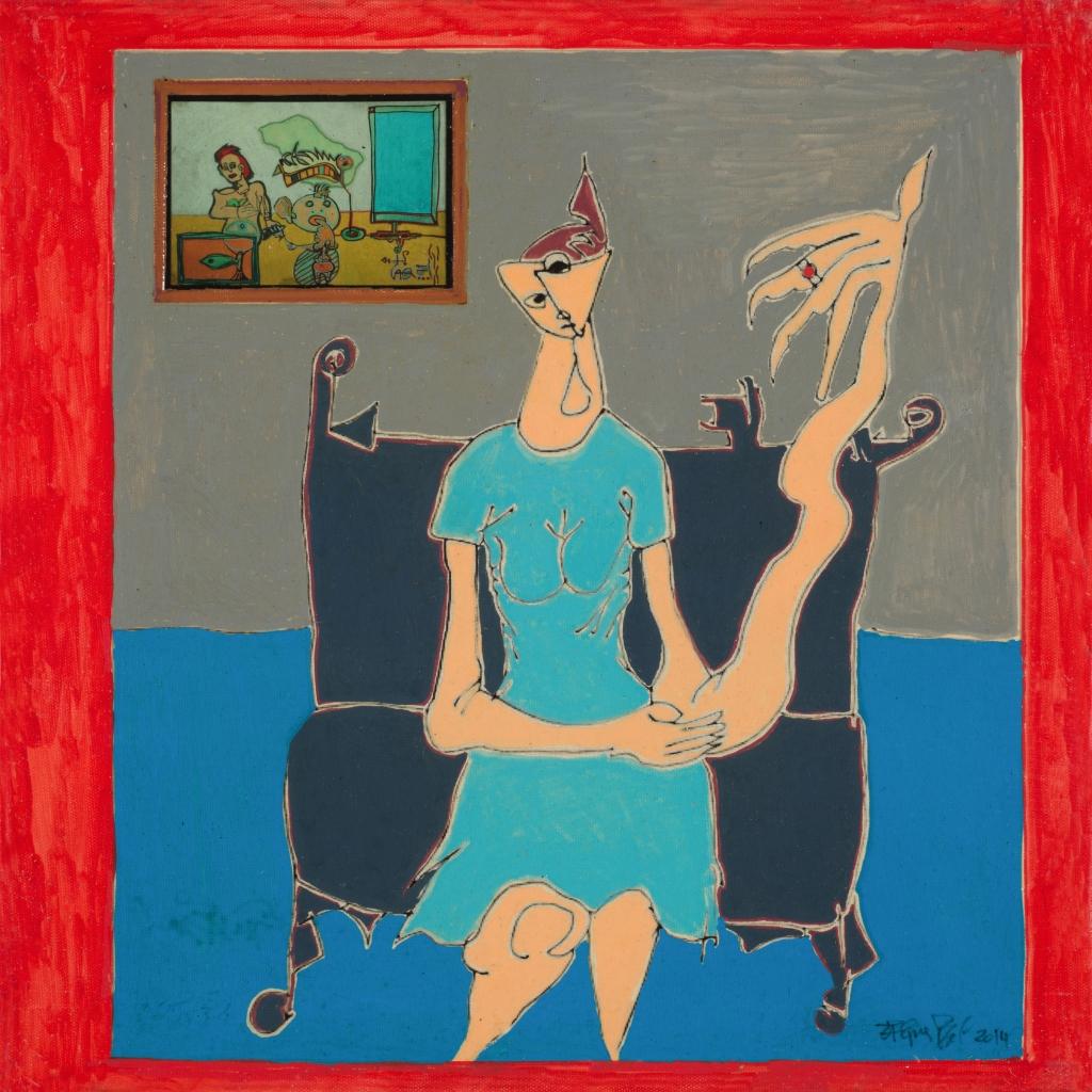 Jacques BRAL - Jeune Fille à la galerie (40x40) - 2014